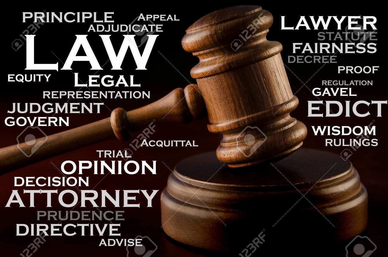 Legal Profession  >> Words Of The Law Wooden Judge S Gavel And Words That Describe