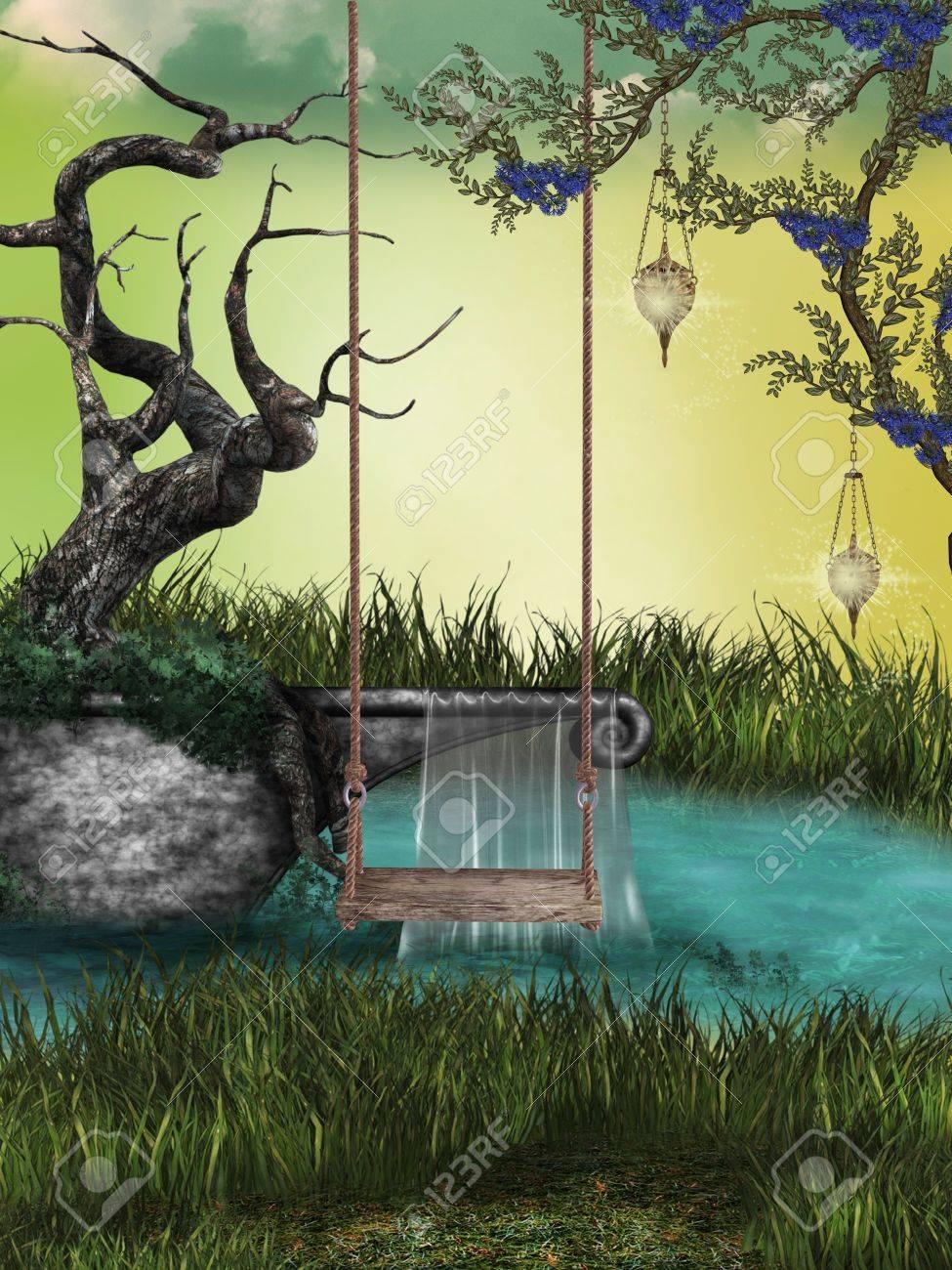 Fantasy Landscape with hammock and small lake Stock Photo - 11450520