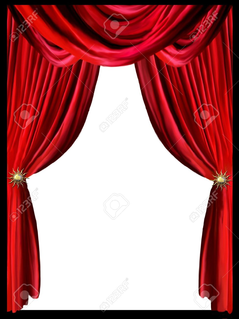 Black and white stage curtain - Theatre Curtain Red Curtain With Border Black In A White Background