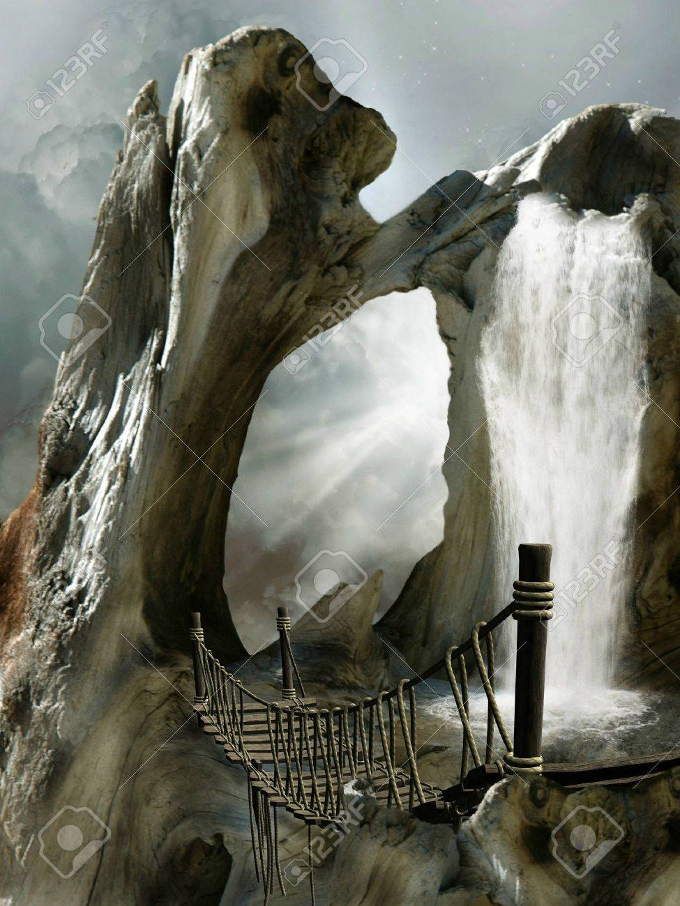 Fantasy Landscape in a trunk with waterfall Stock Photo - 14548234