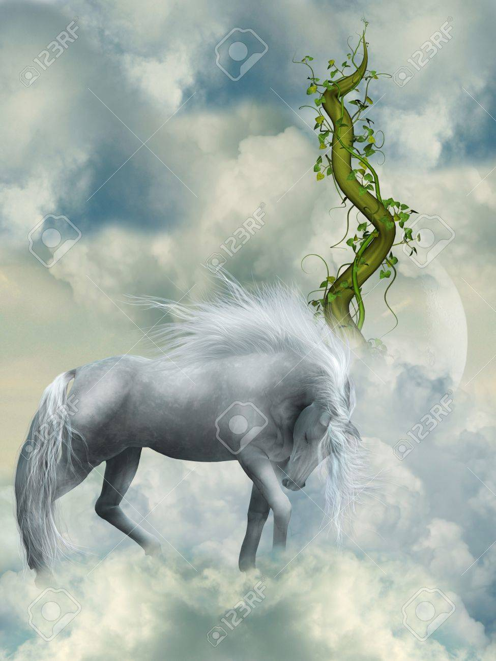 Fantasy White Horse In The Sky With Green Branch Stock Photo Picture And Royalty Free Image Image 14548228