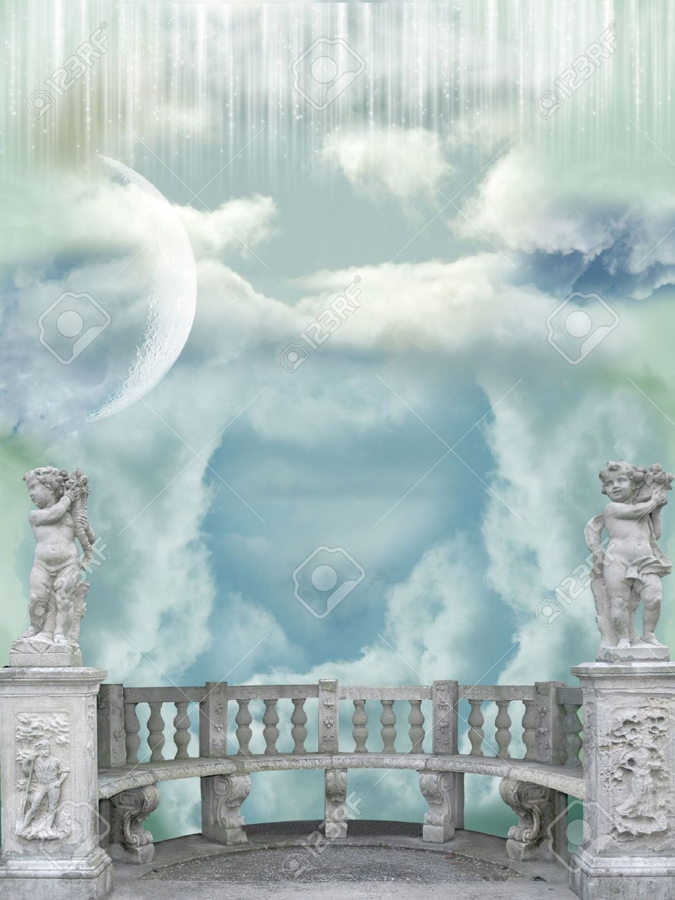 Balcony in the sky with angel statues Stock Photo - 14548250