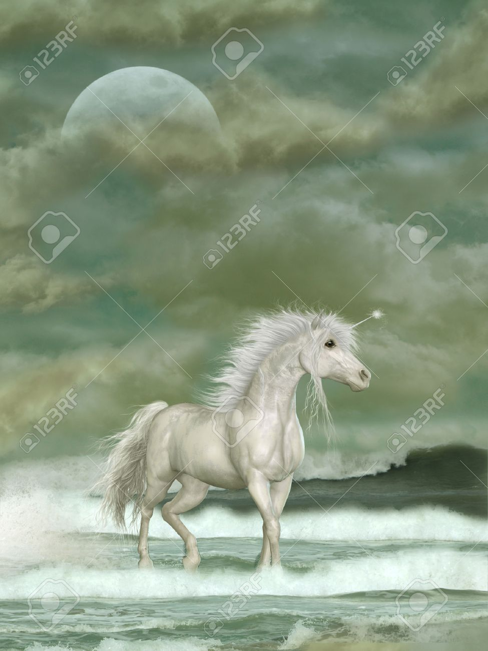 Fantasy white unicorn in the ocean with big moon fantasy white unicorn in the ocean with big moon 29138758 voltagebd Images