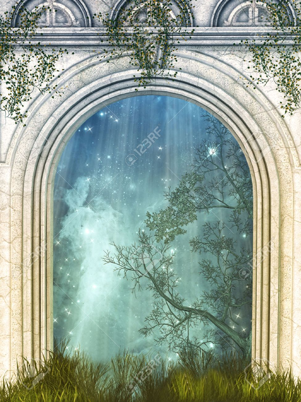 Magic door in the forest with stars Stock Photo - 48195404 & Magic Door In The Forest With Stars Stock Photo Picture And ... Pezcame.Com