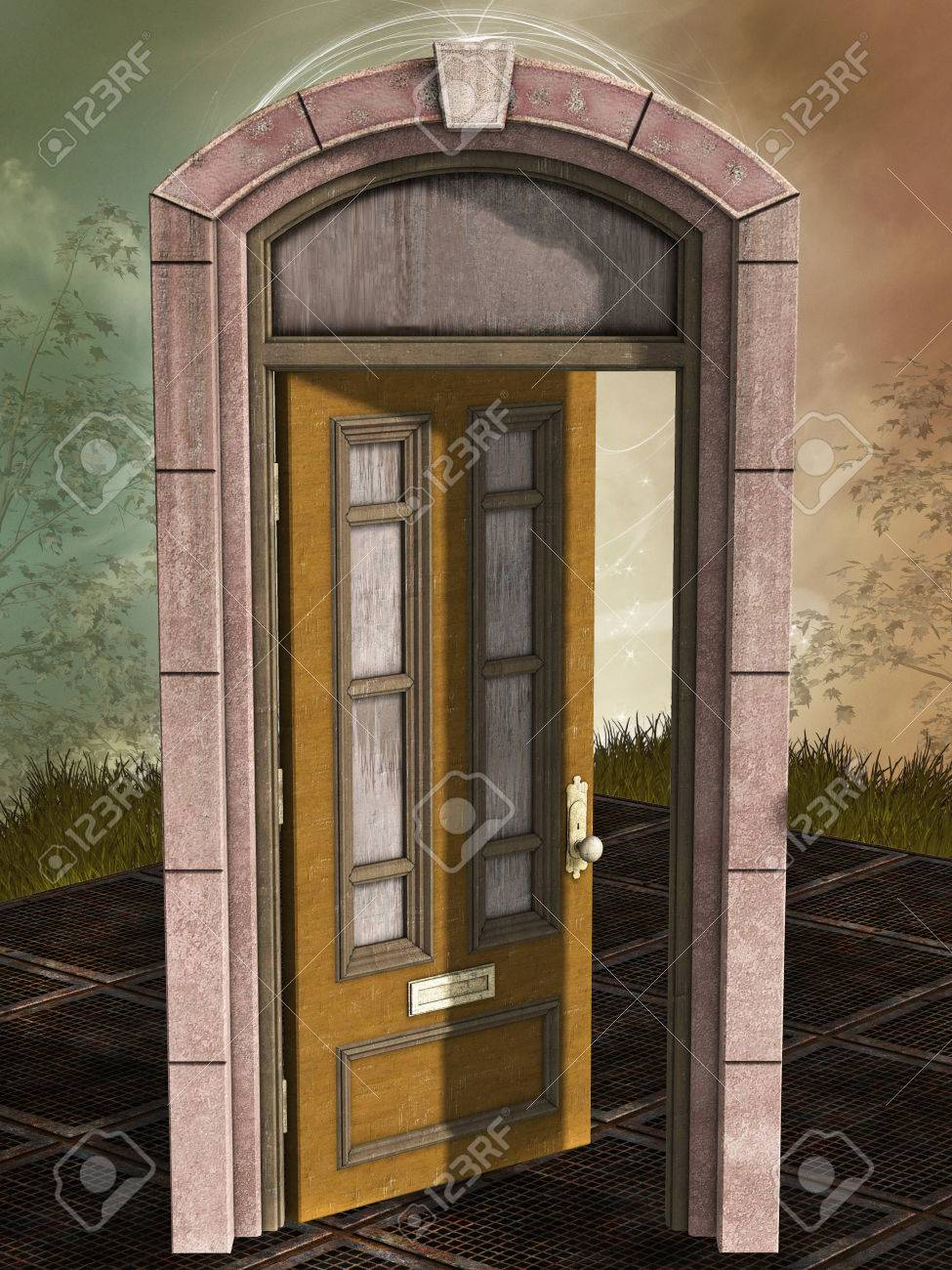 Fantasy magic door open in the forest Stock Photo - 48195415 & Fantasy Magic Door Open In The Forest Stock Photo Picture And ...