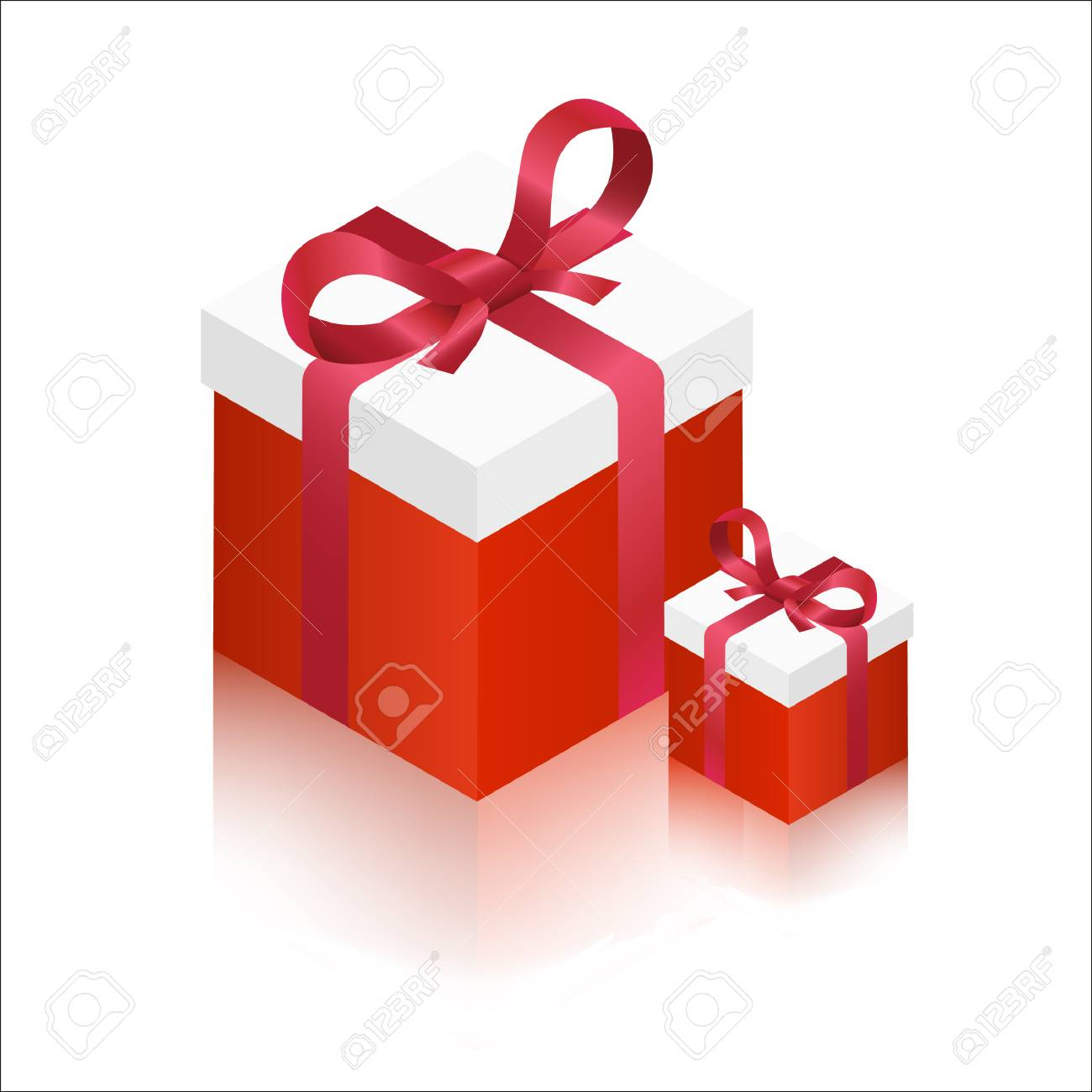 Red Big And Small Gift Boxes Vector Illustration