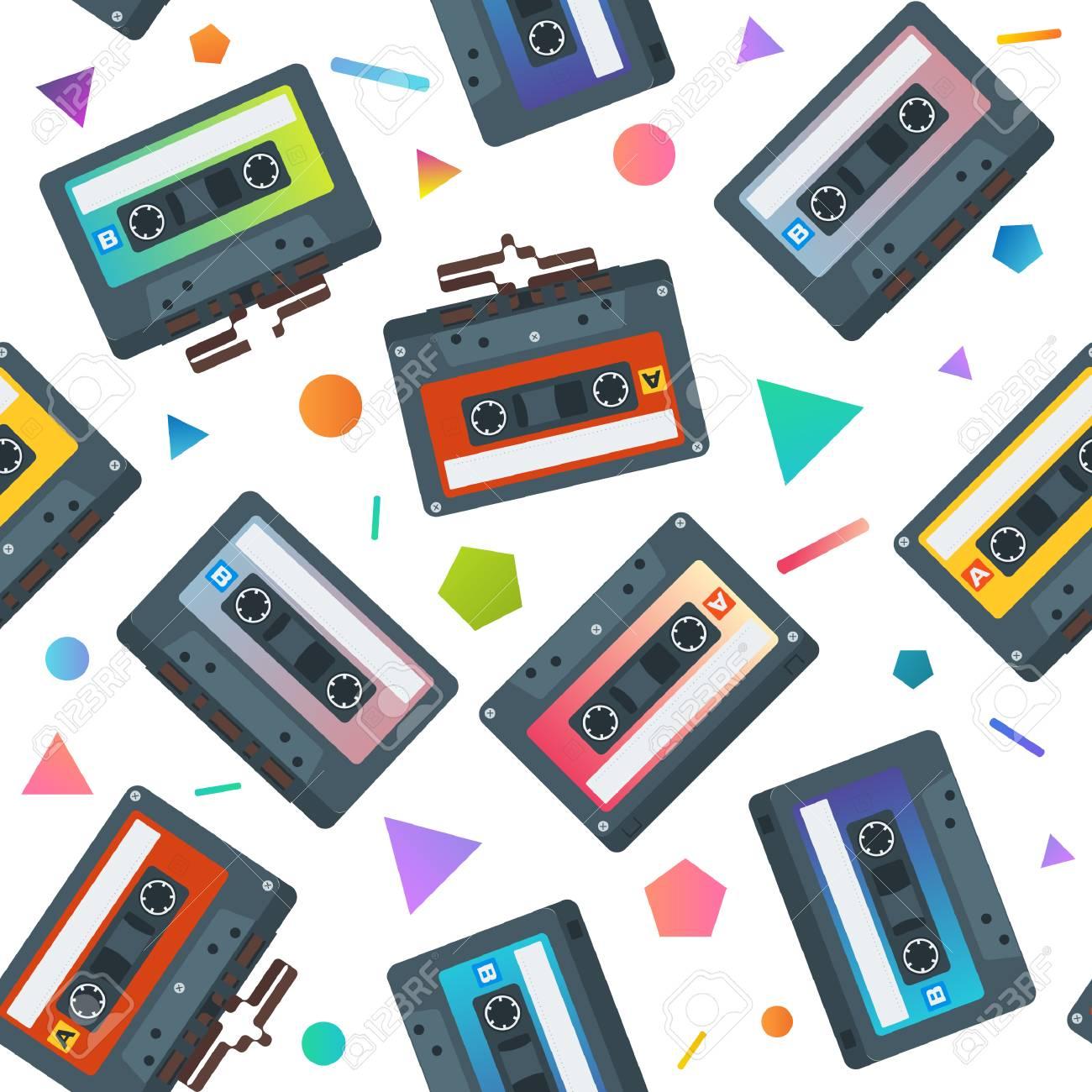 フラットのカセット テープのシームレスなパターンベクター背景