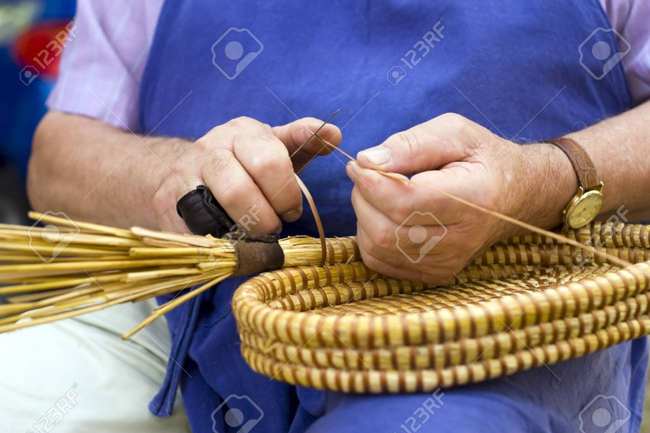 Craft man, spin basket. Stock Photo - 5340827