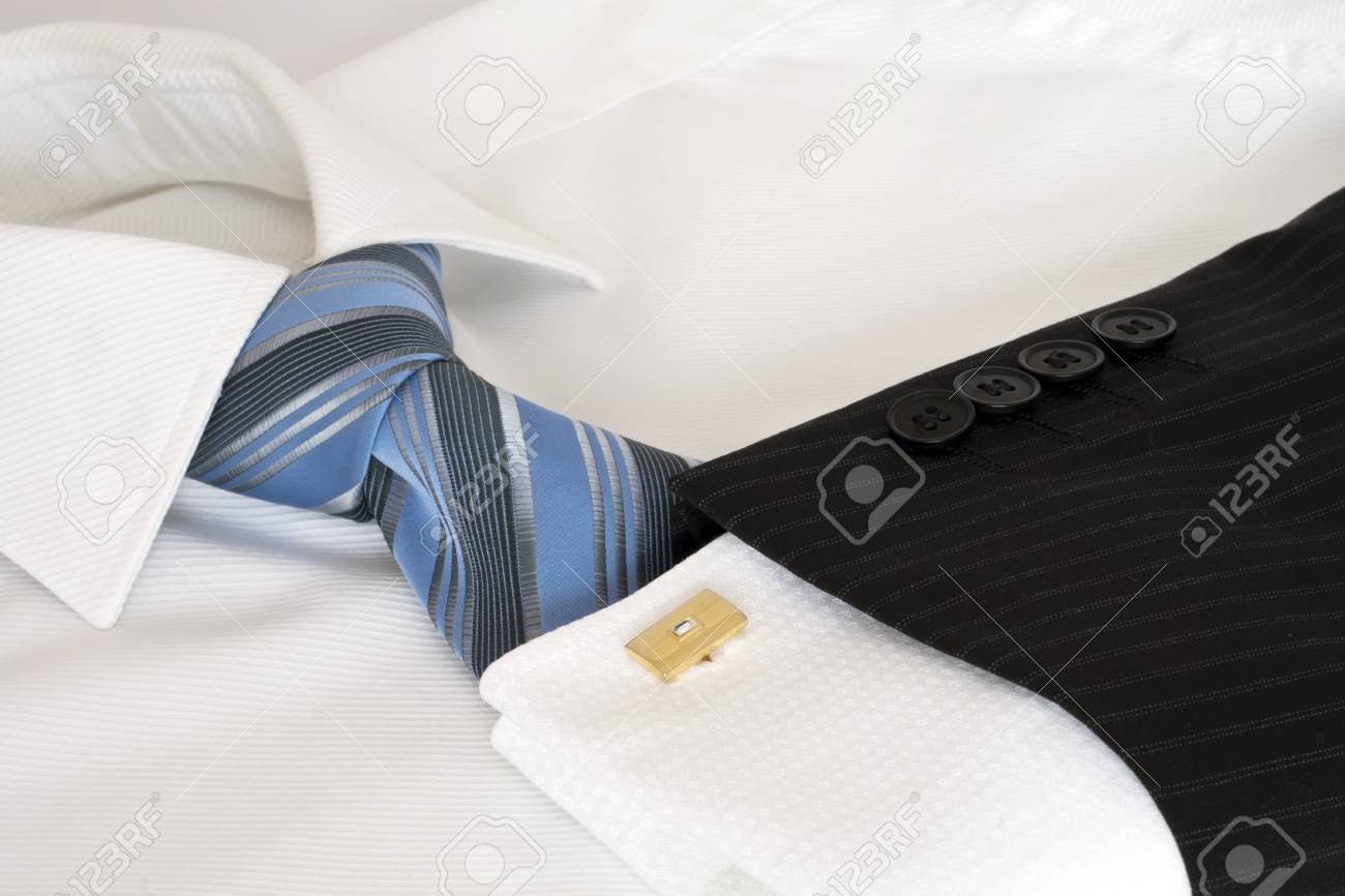 White male shirt, blue tie. Stock Photo - 7233584