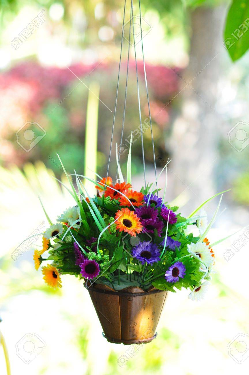 The hanging beautiful flower pot Stock Photo - 17446007