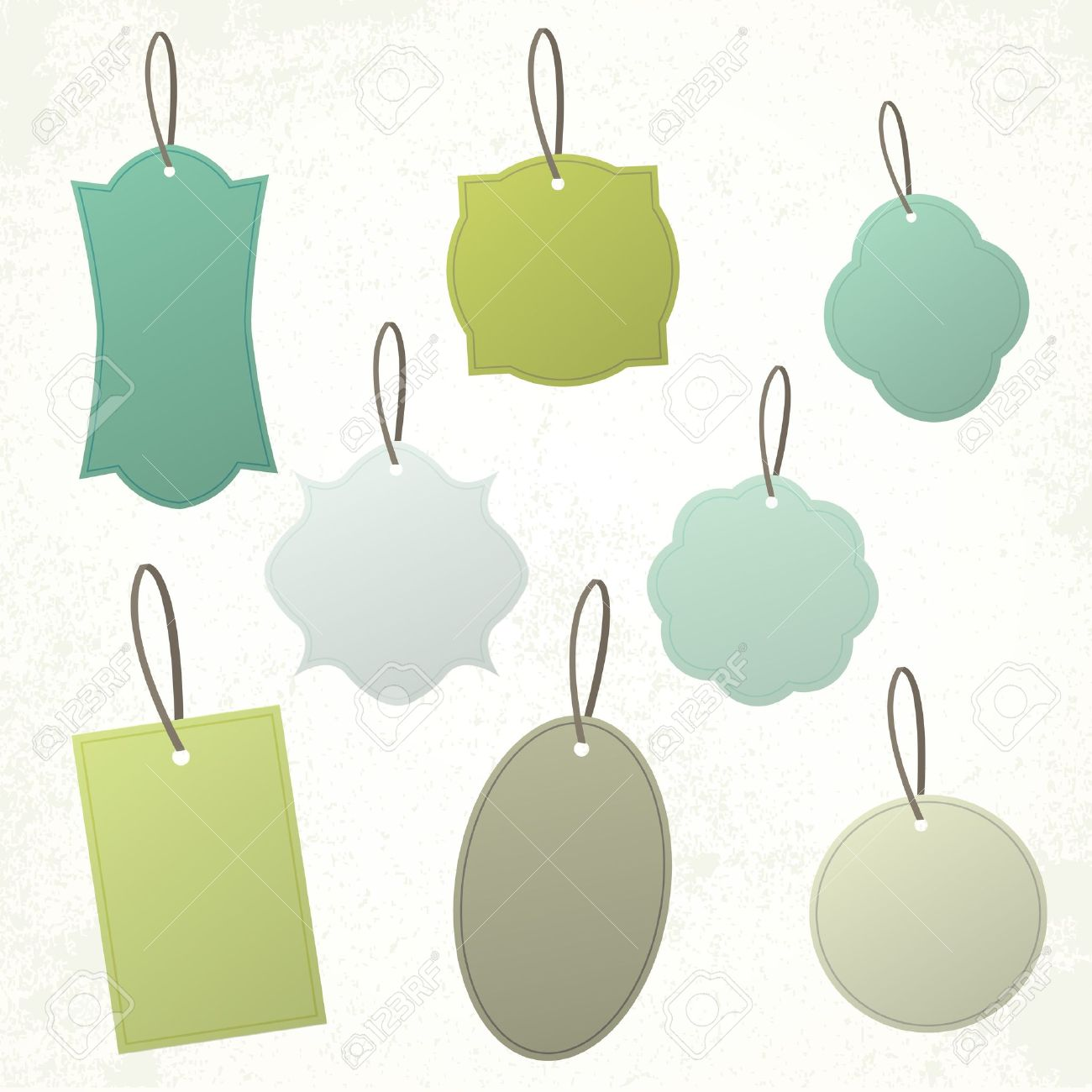 Set Of Vintage Blank Shapes And Tags Stock Vector