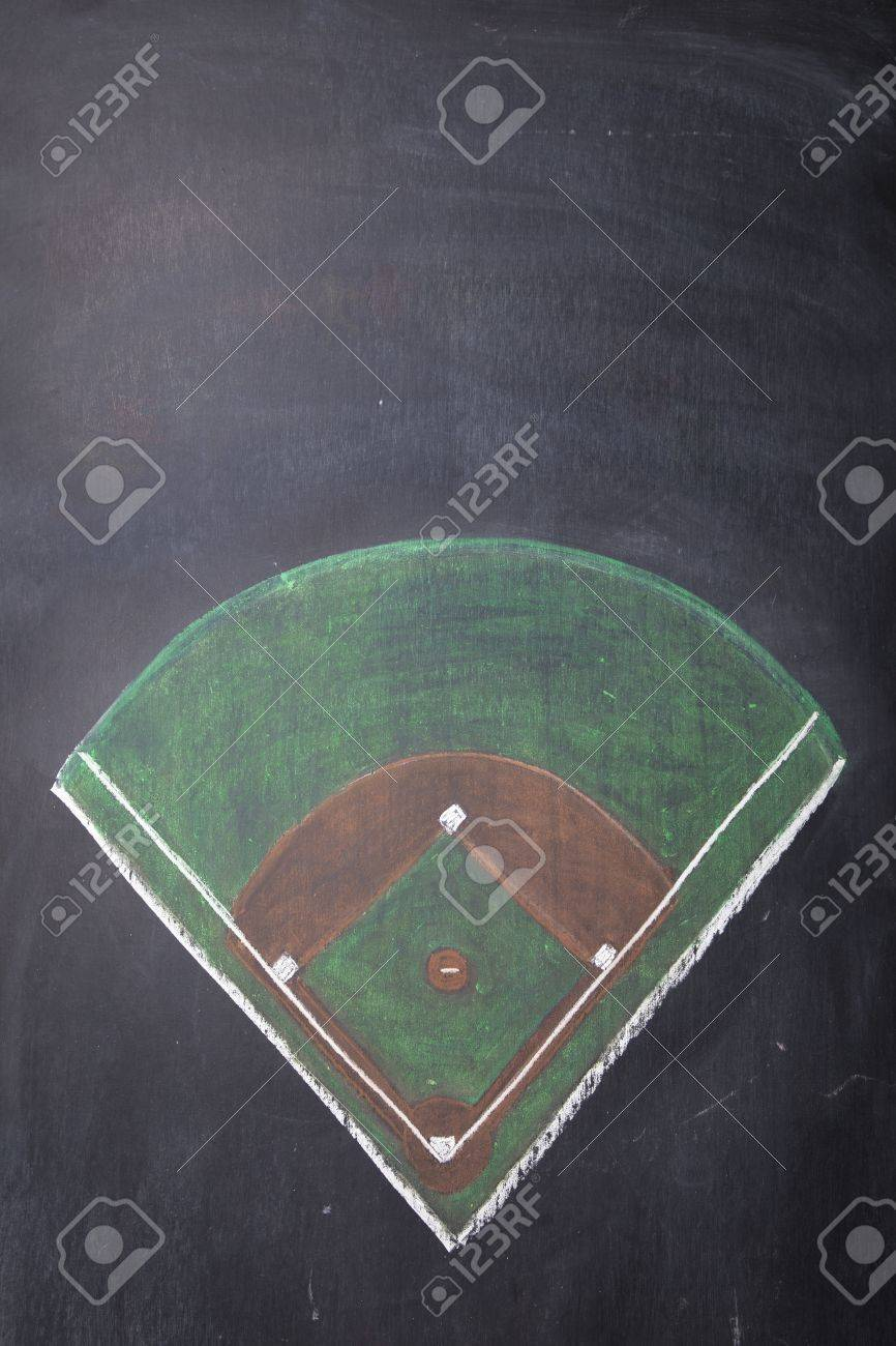 A Baseball Field Is Drawn On Chalkboard With Room For Copy Stock Photo