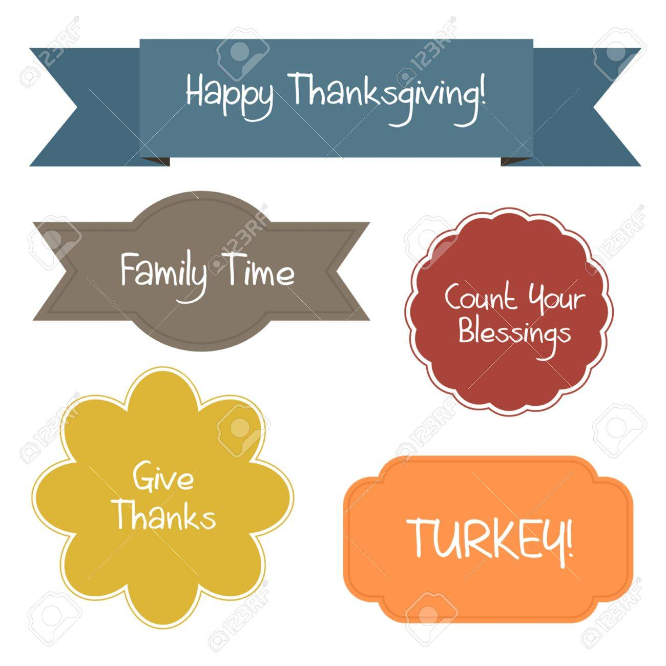 Five Colorful Shapes Contain Thanksgiving Quotes Royalty Free