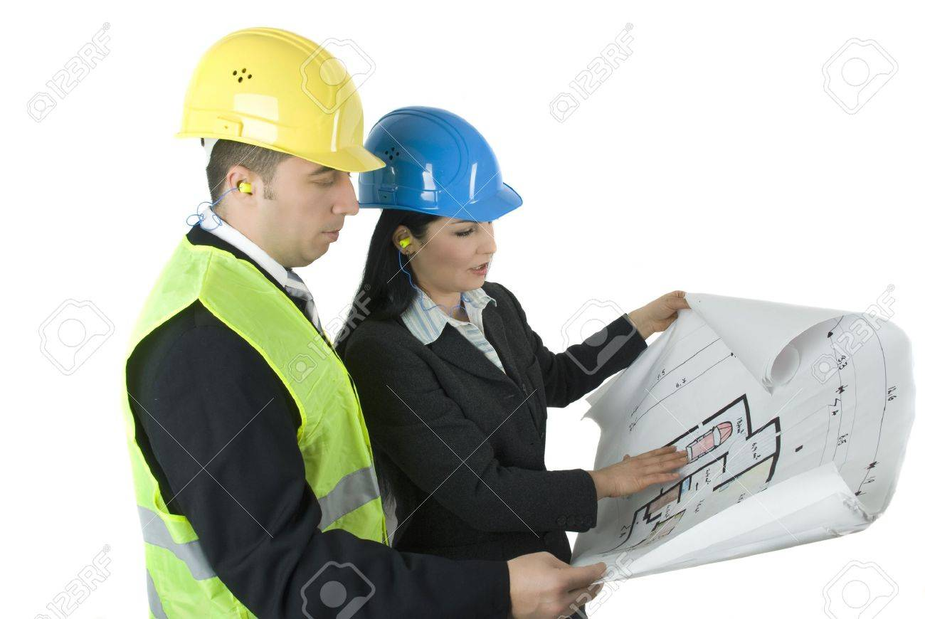 wo Young rchitects Looking On House Plans Stock Photo, Picture ... - ^