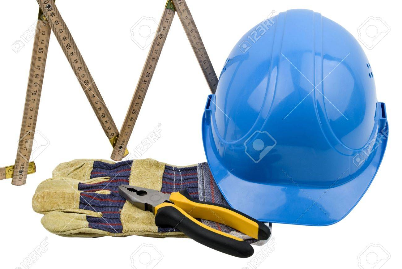Close up of few construction tools isolated on white background Stock Photo - 4288743