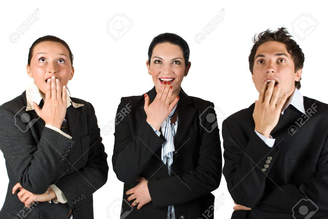 Three business people standing in a line  looking up  and they look very surprised and happy  about something and  exclaim :Wow! and holding them hands at mouths Stock Photo - 4781173