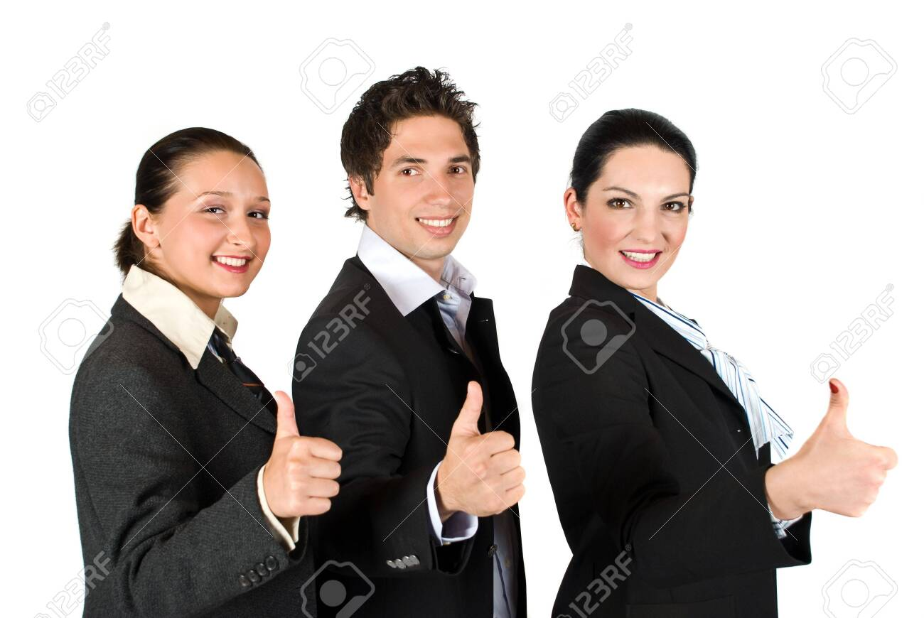 Group of three businesspeople with thumbs up concept of successfull business isolated on white background Stock Photo - 4831154
