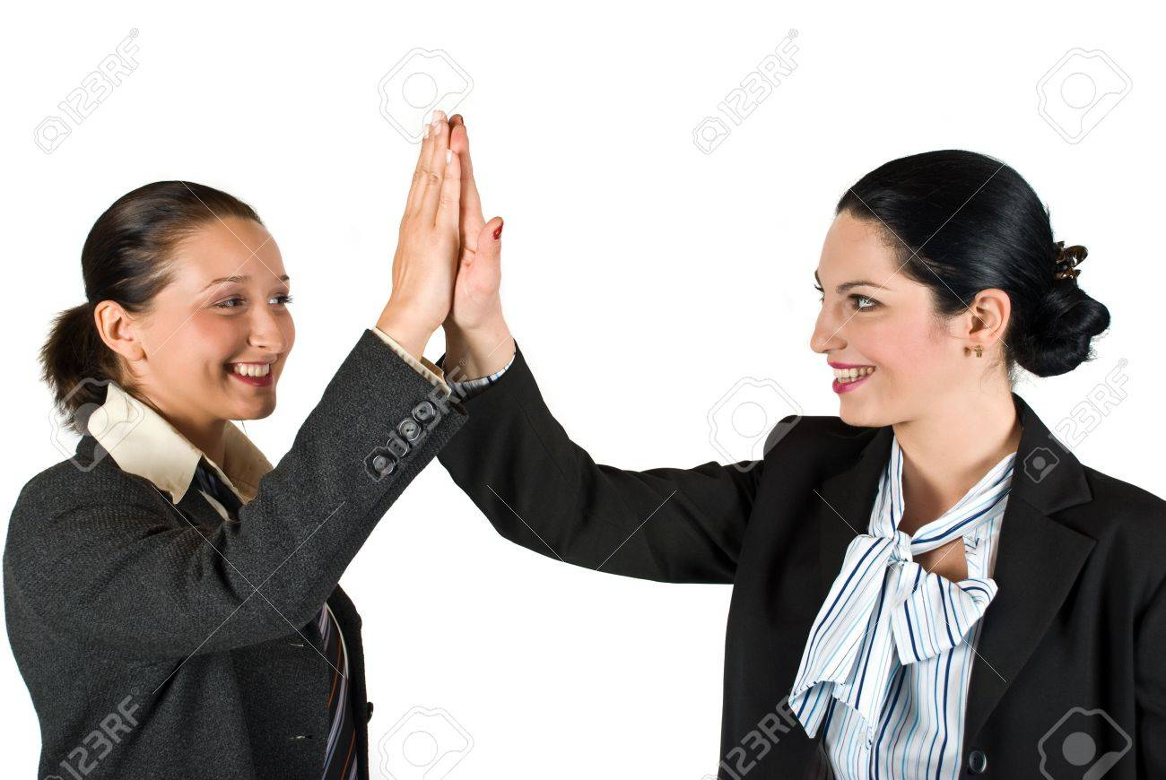 Two excited businesswoman team  give high five concept of successful business isolated on white background Stock Photo - 4843762