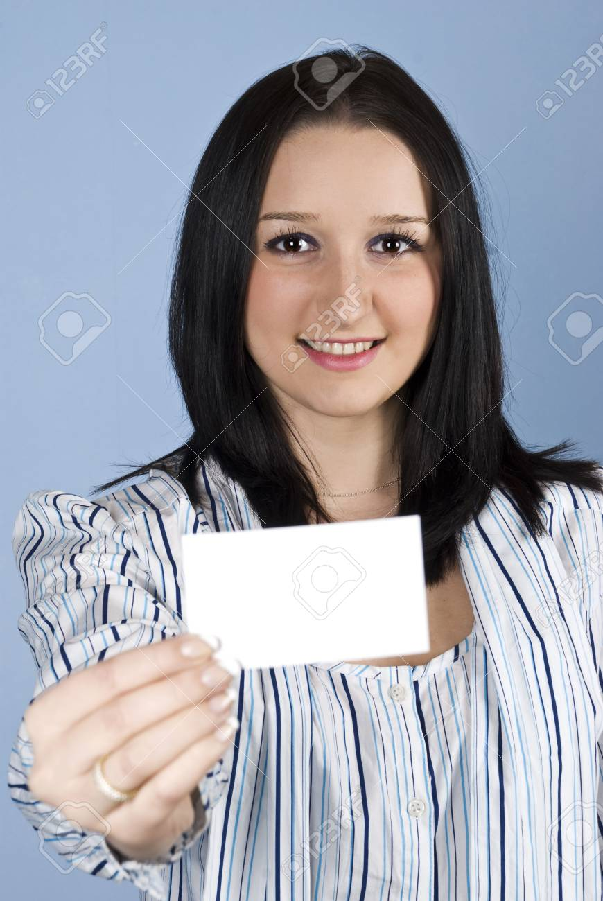 Business female giving you a blank business card and smiling Stock Photo - 6226201