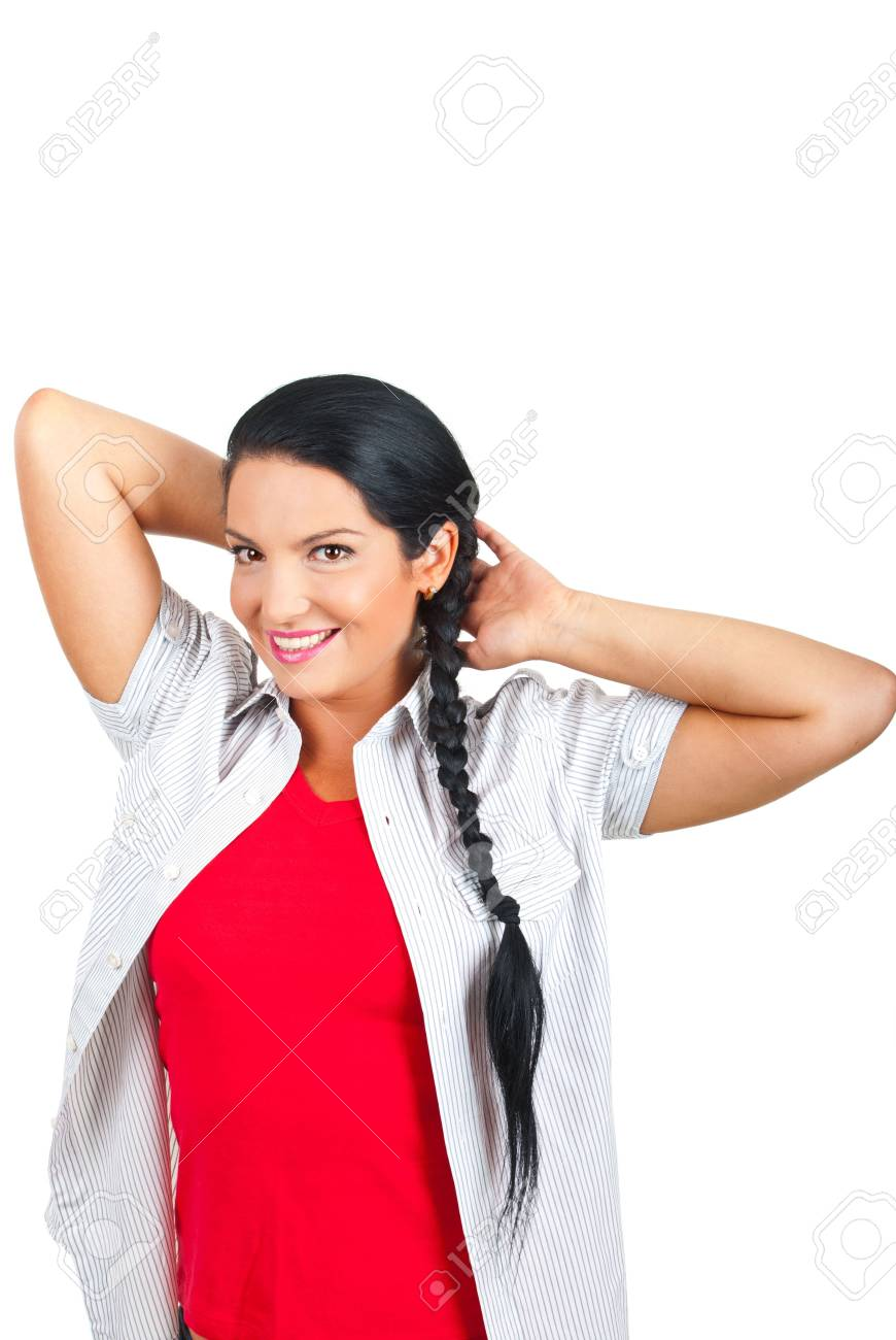 Casual woman posing with hands under head and smiling isolated on white background,copy space for text message Stock Photo - 7744126