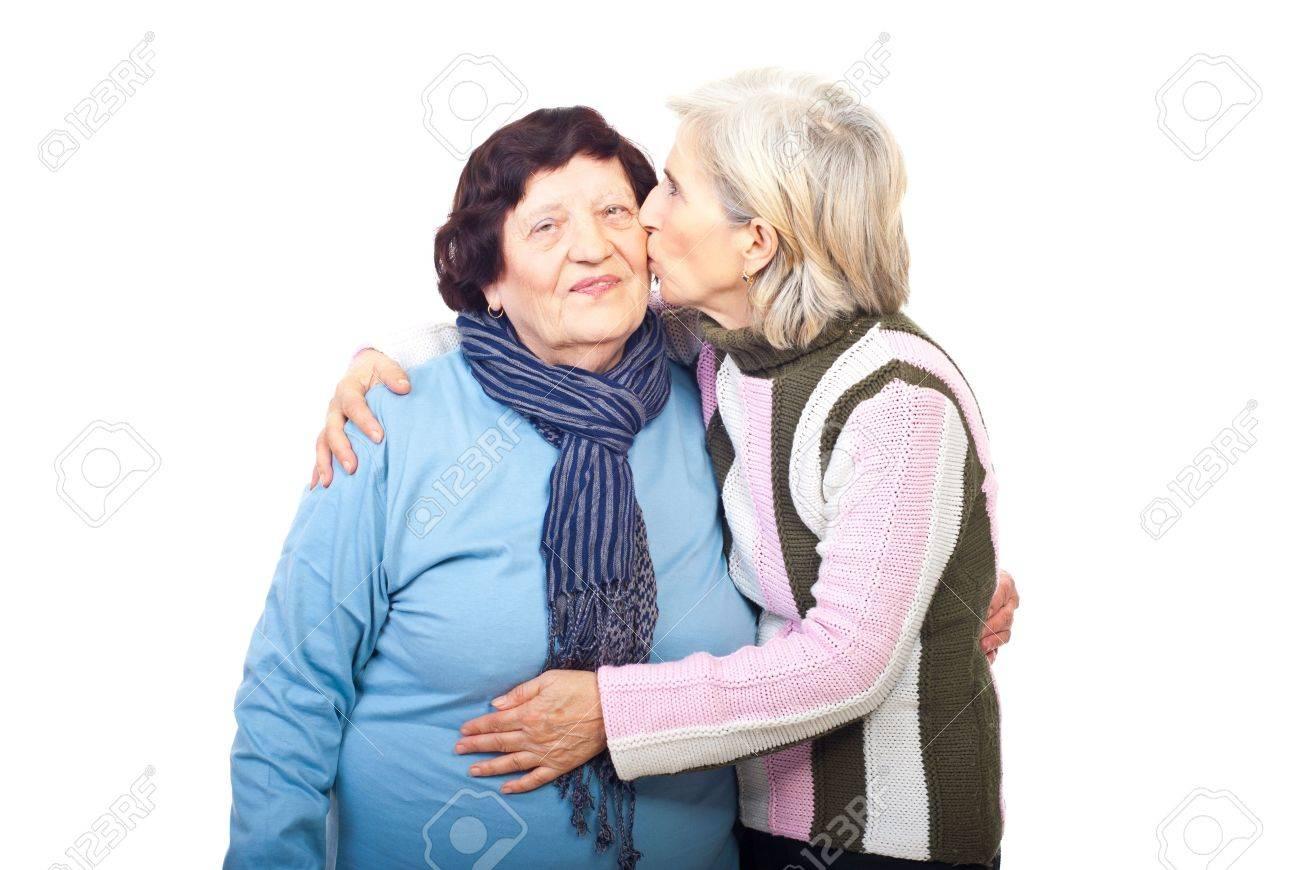 Admirable Senior Daughter 60S Kissing Elderly Mother 80S Isolated On White Hairstyles For Women Draintrainus