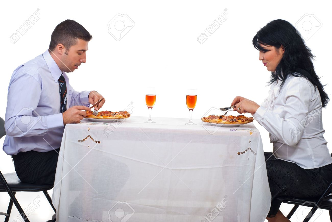 Awesome Two Business People Having Lunch And Eating Pizza At Table Download Free Architecture Designs Embacsunscenecom