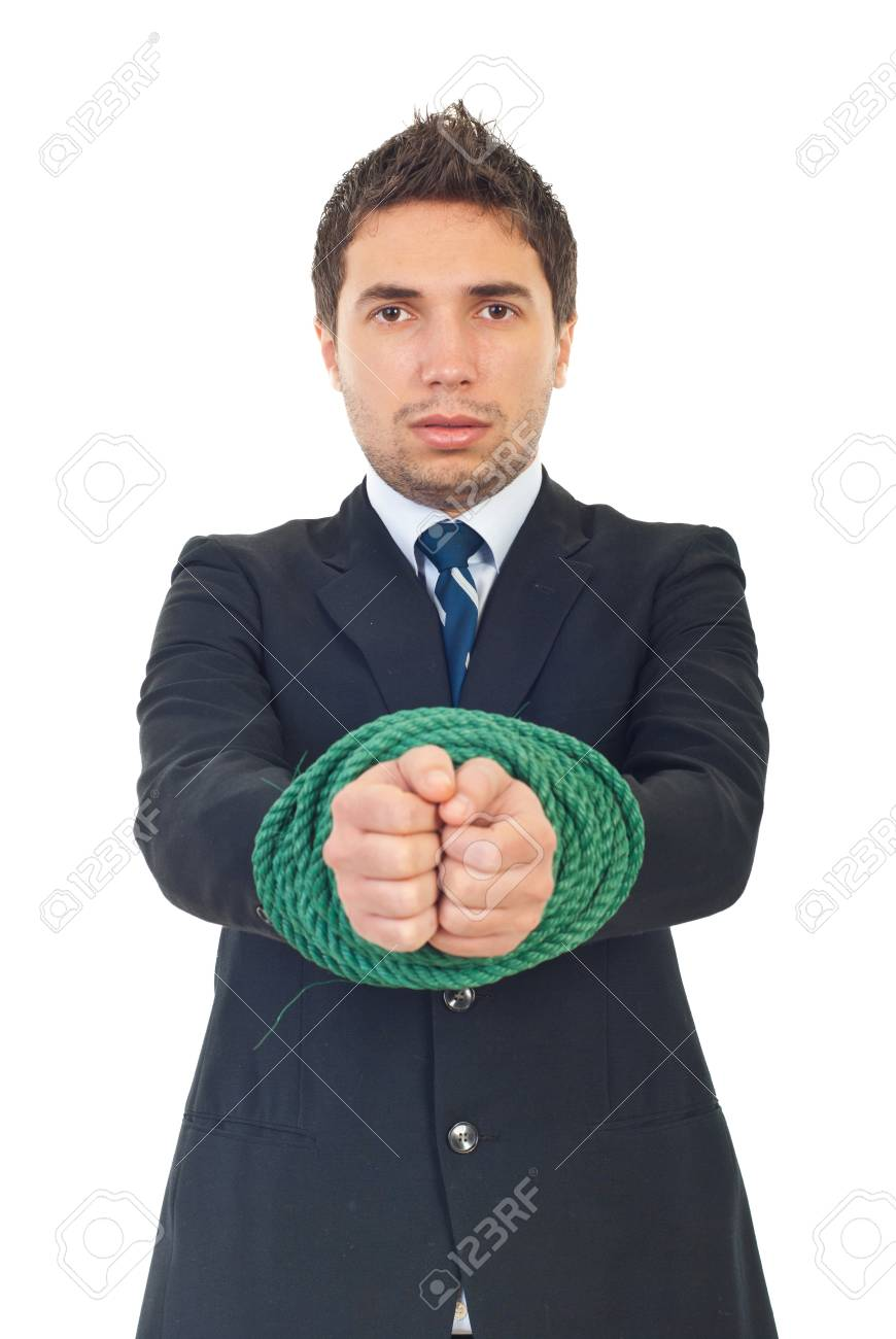 Business man showing his  tied hands isolated on white background Stock Photo - 8333183