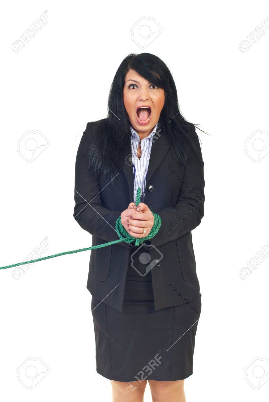 Desperate womn shouting and having her hands tied isolated on white background Stock Photo - 8375502