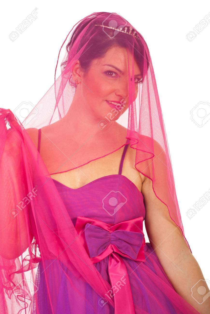 Retrato De Novia De Belleza Vistiendo De Rosa-vestido De Color Malva ...