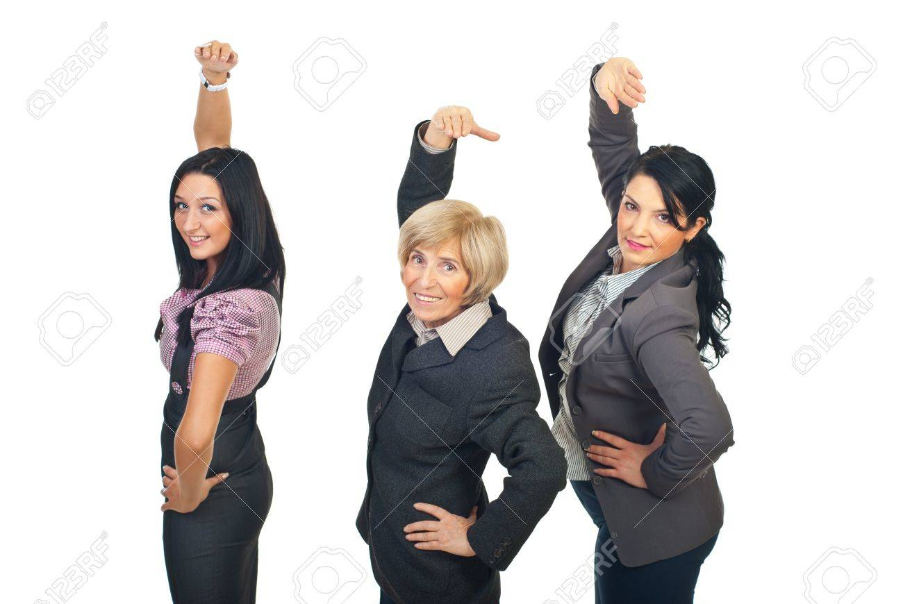 Team of three business women standing in a line stretching their hands isolated on white background Stock Photo - 8493140