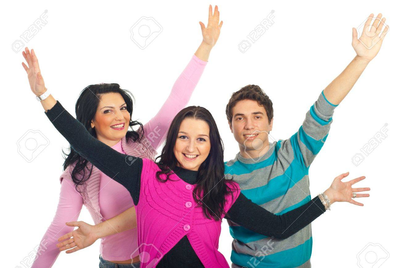 Group of happy three friends with arms open isolated on white background Stock Photo - 8585969