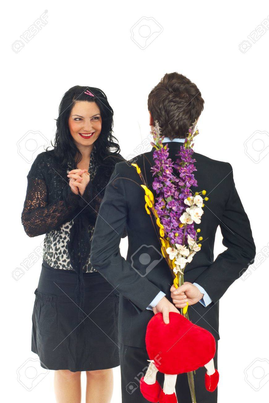 Happy Woman Waiting To Receive The Valentine Gift From Her Husband
