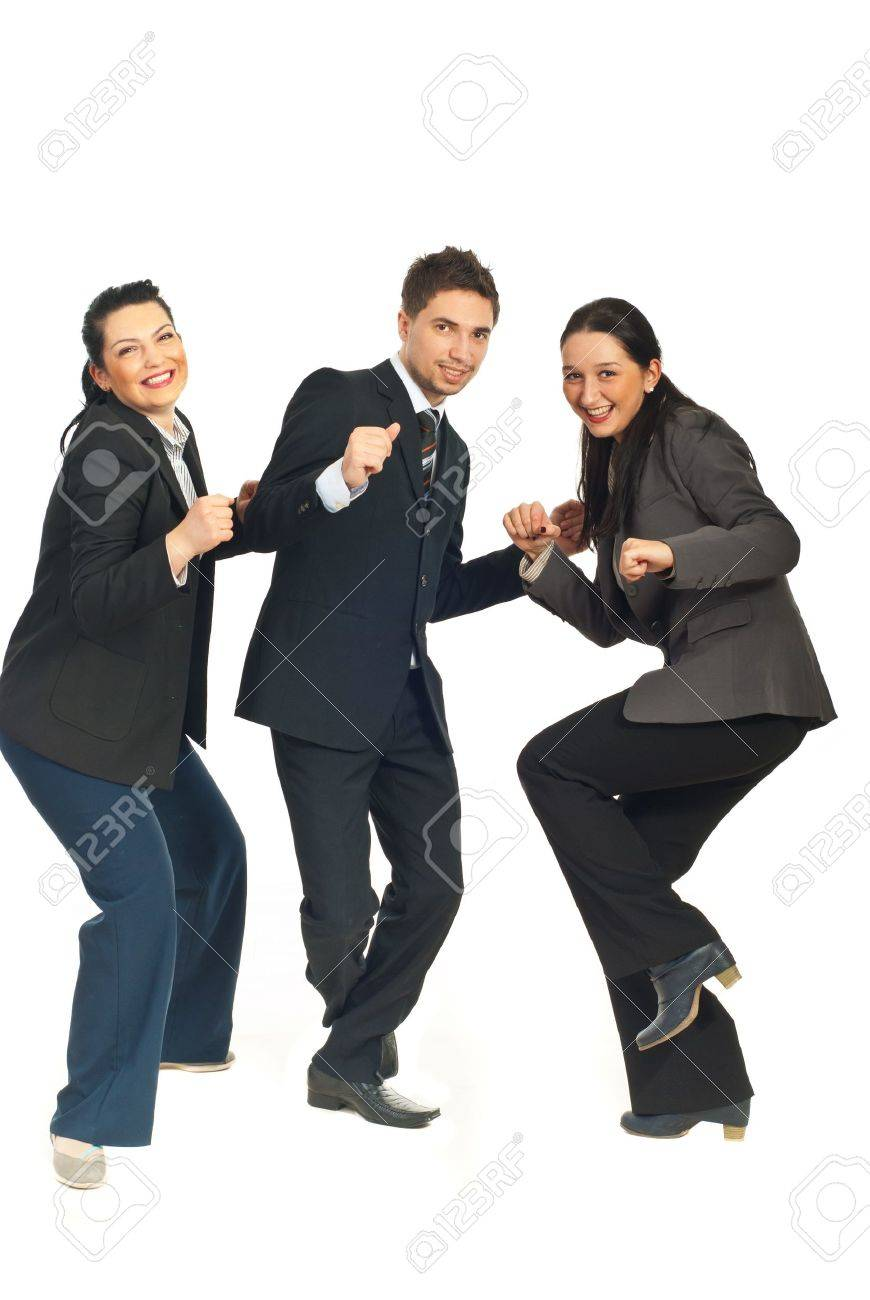 Three group of business people dancing and celebrate their success in business isolated on white background Stock Photo - 8616695