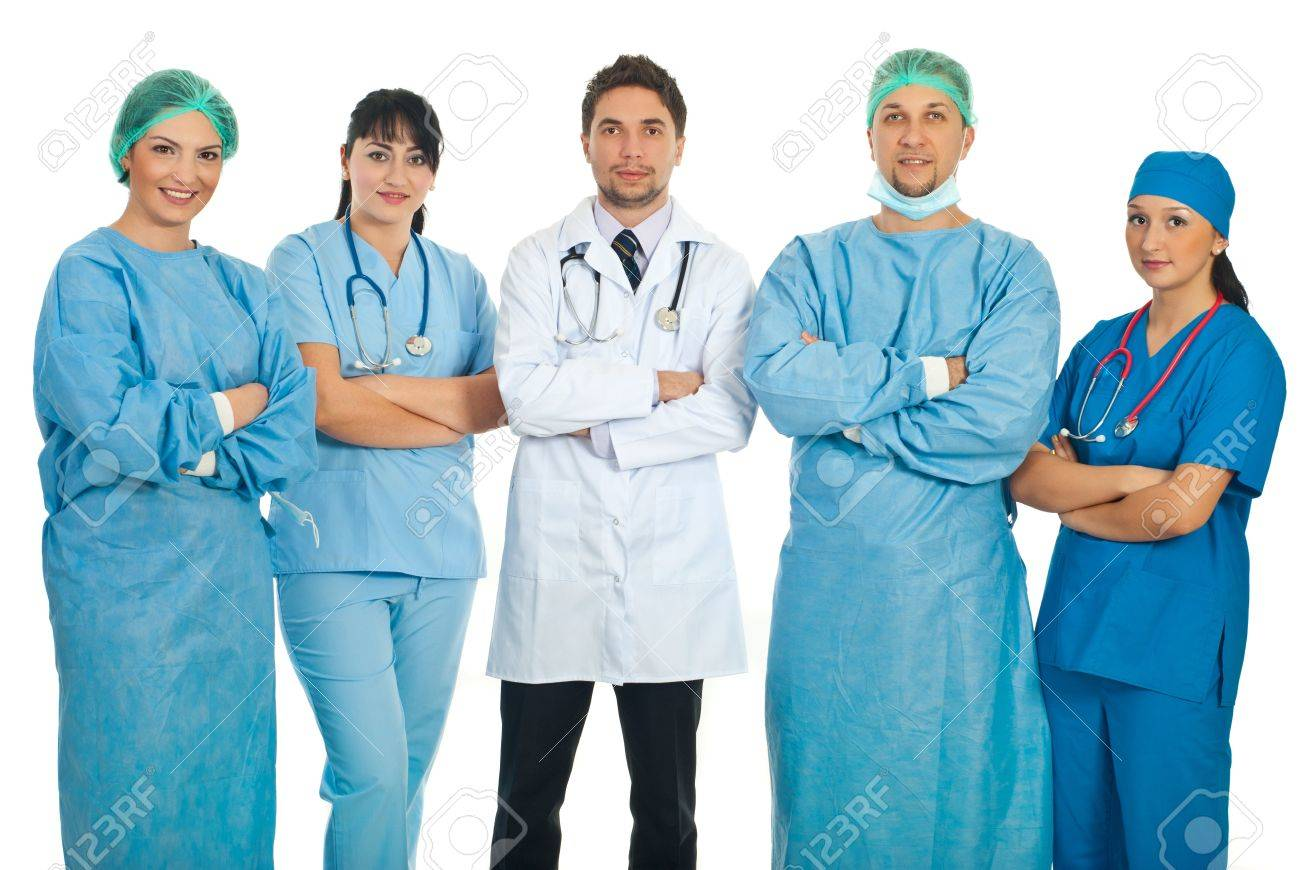 Team of five doctors standing with hands crossed isolated on white background Stock Photo - 8691917
