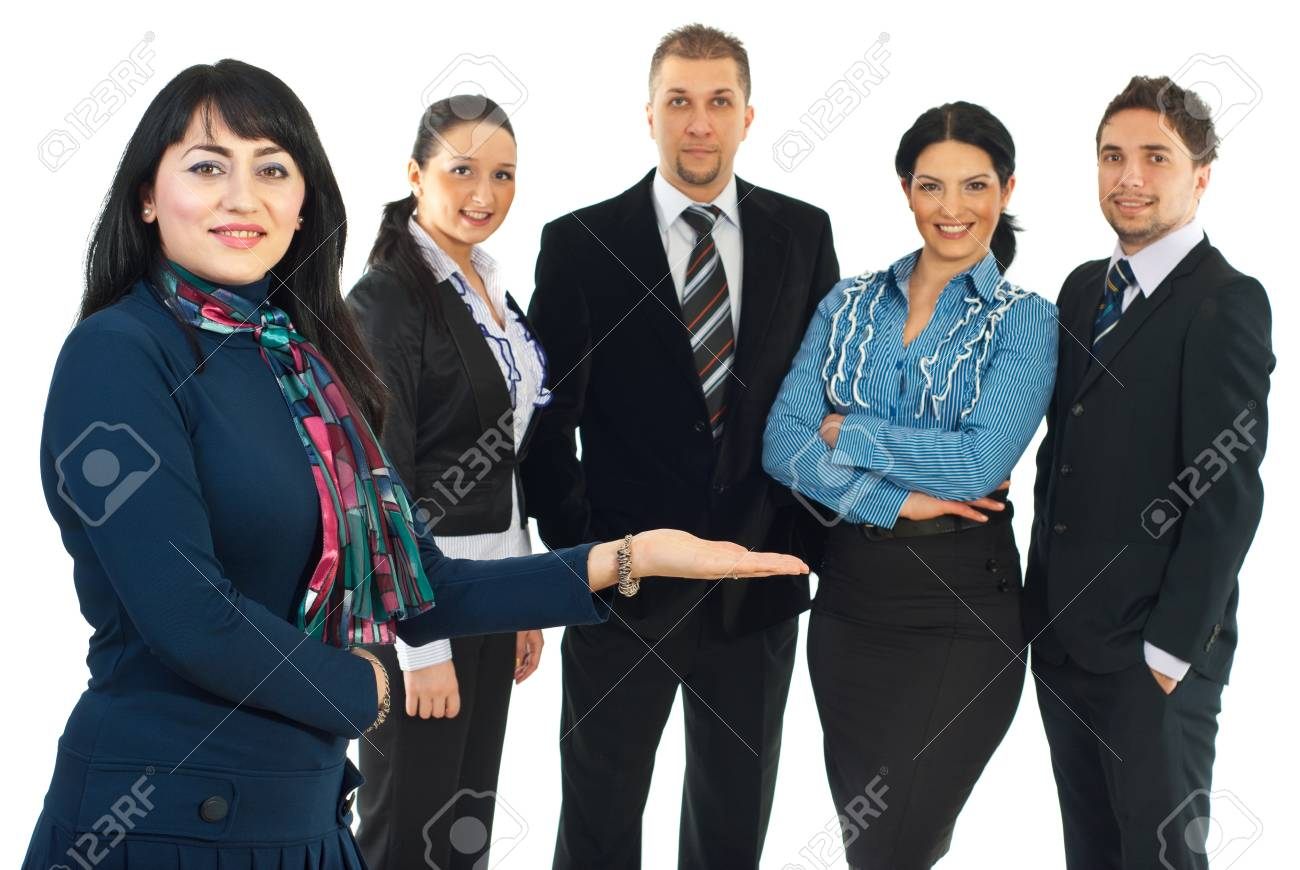 Smiling business woman presenting her team  or invite you to join their business isolated on white background Stock Photo - 8692003