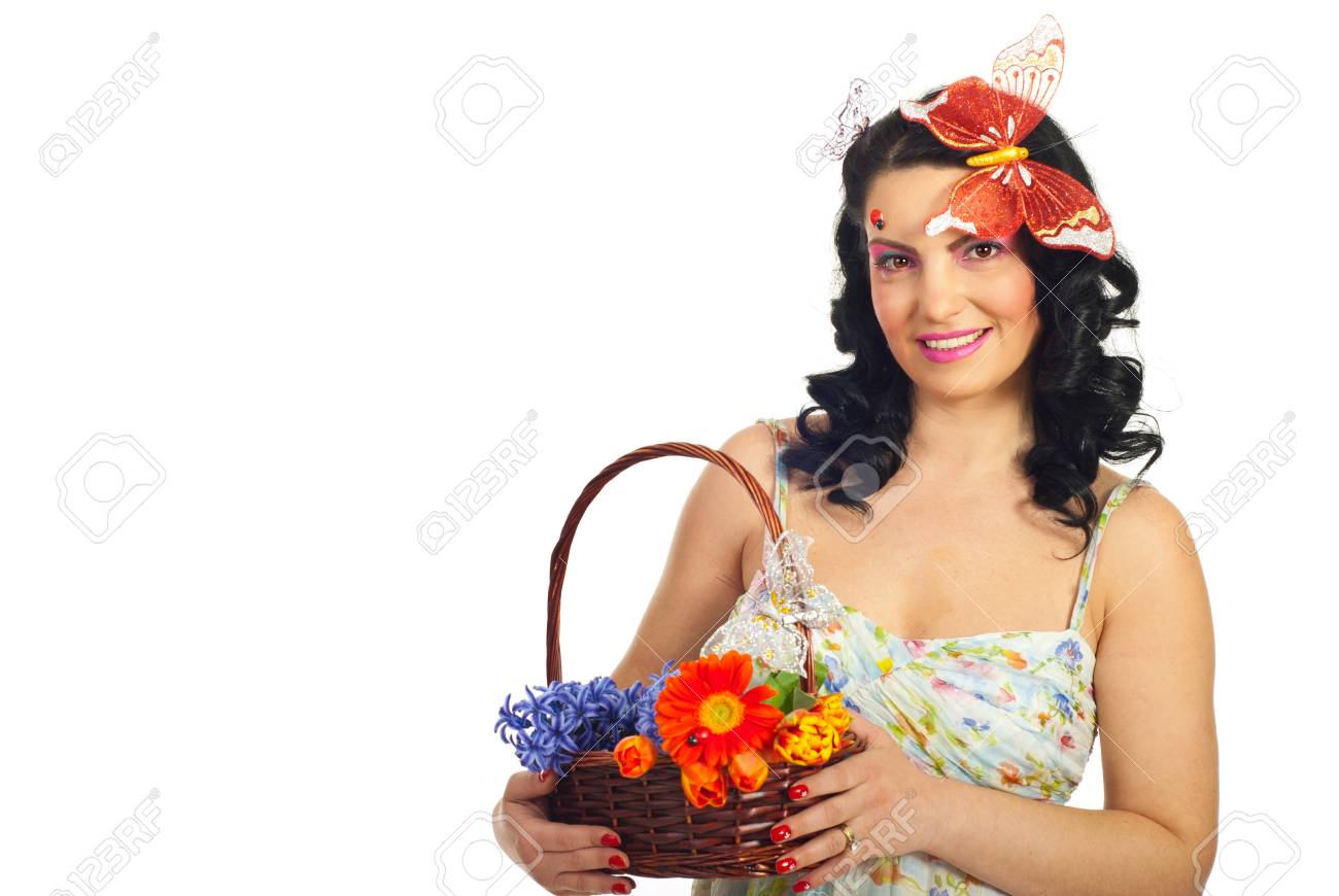 Beautiful spring woman model holding basket with flowers isolated on white background,copy space for text message in left part of image Stock Photo - 8993639