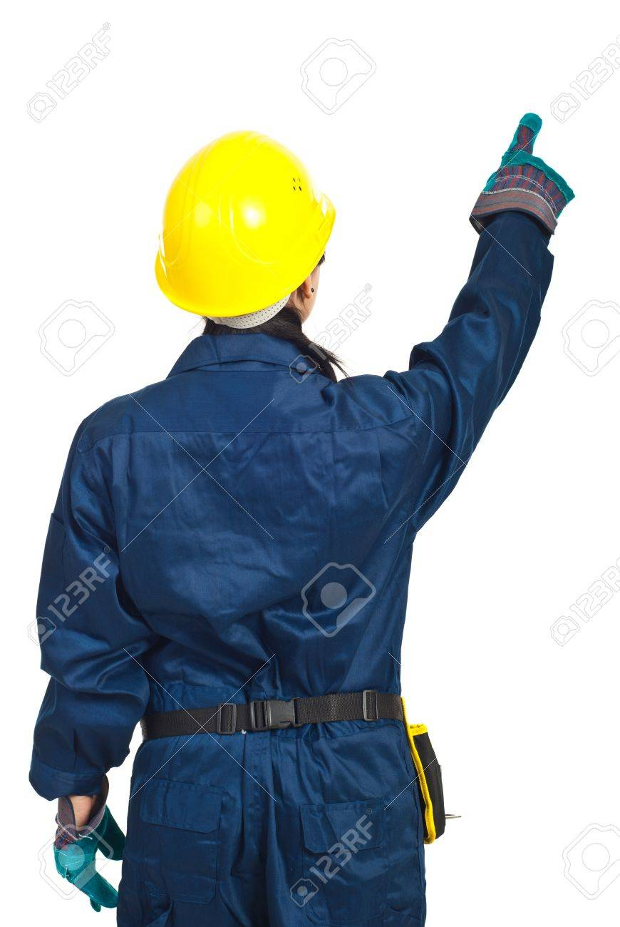 Back of worker woman pointing up  isolated on white background Stock Photo - 9277710