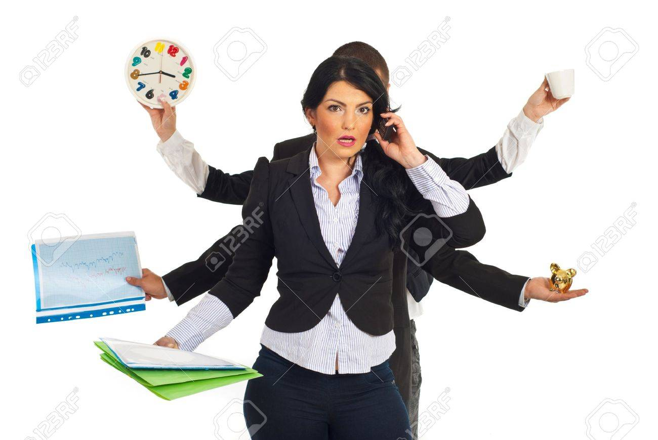 Busy business people holding different objects and a shocked businesswoman talking by phone mobile in front of them isolated on white background Stock Photo - 9463625