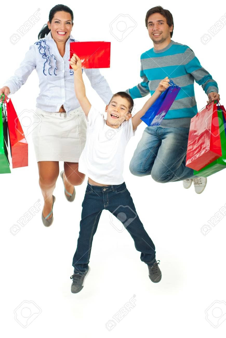 Happy Family Of Three Members Jumping And Holding Shopping Bags ...