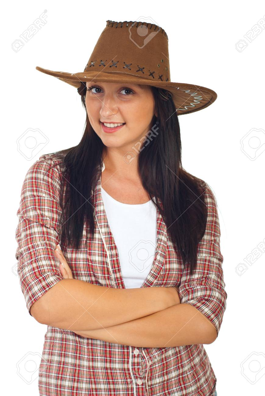 Stock Photo - Young model woman wearing cowboy hat isolate don white  background c41d28f82b89