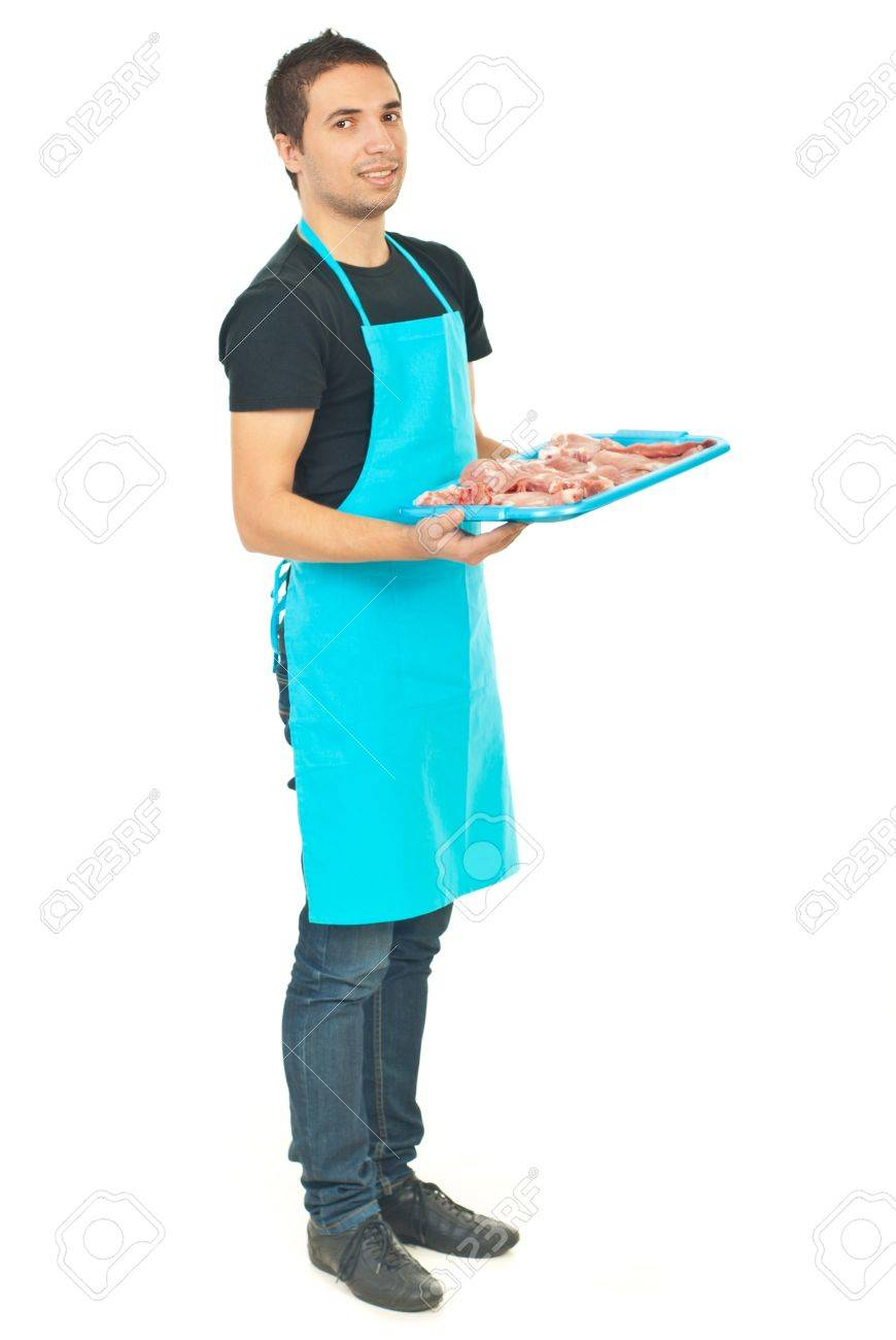 White apron meats - Full Length Of Smiling Butcher In Blue Apron Holding Meat Isolated On White Background Stock Photo