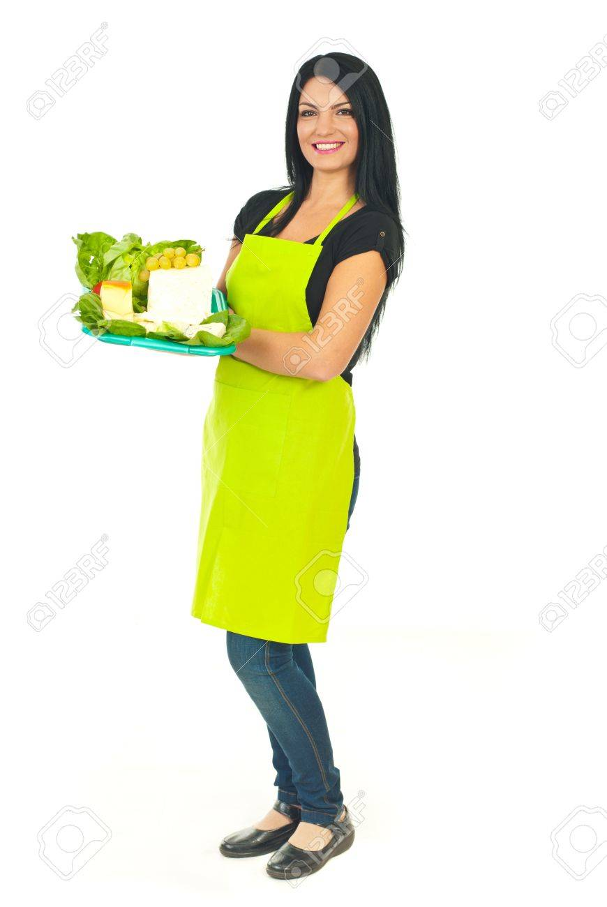 White apron green thumb - Full Length Of Smiling Cheesemaker Woman With Green Apron Holding Different Cheese On Plateau In A