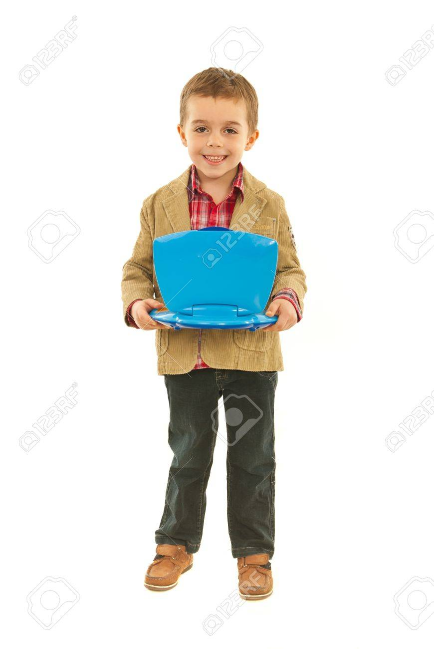Full length of happy boy holding open blue laptop toy isolated on hwite background Stock Photo - 12595116