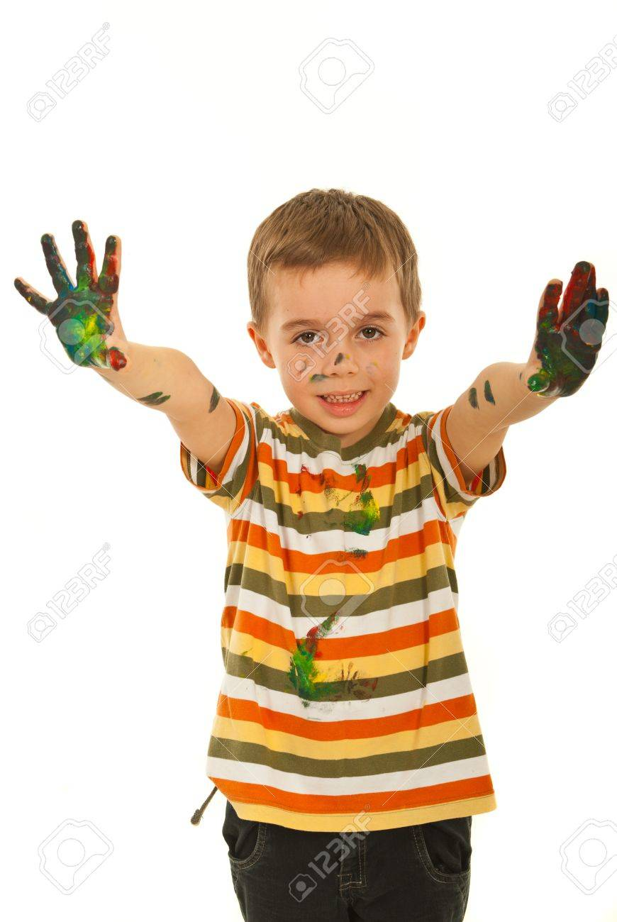 Messy little boy showing his palms isolated on white background Stock Photo - 12596737