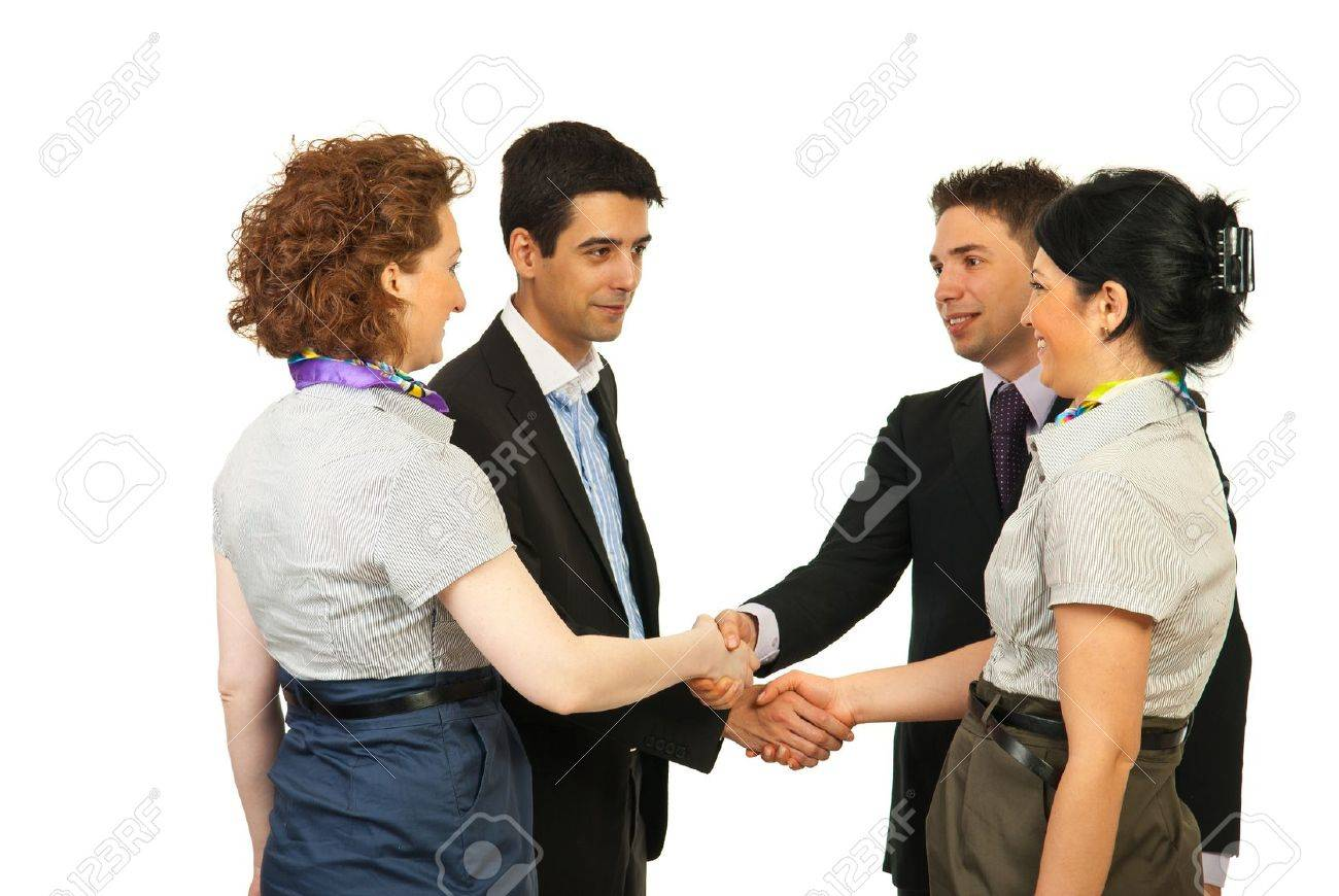 白い背景で隔離の知人を作るビジネス人に会う の写真素材・画像素材 ...