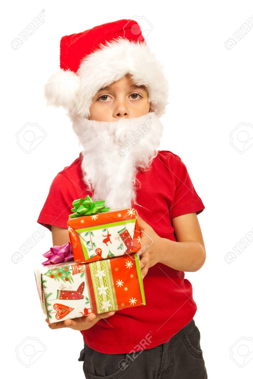 Little Santa Claus boy with white beards holding Christmas gifts isolated on white background Stock Photo - 16236559
