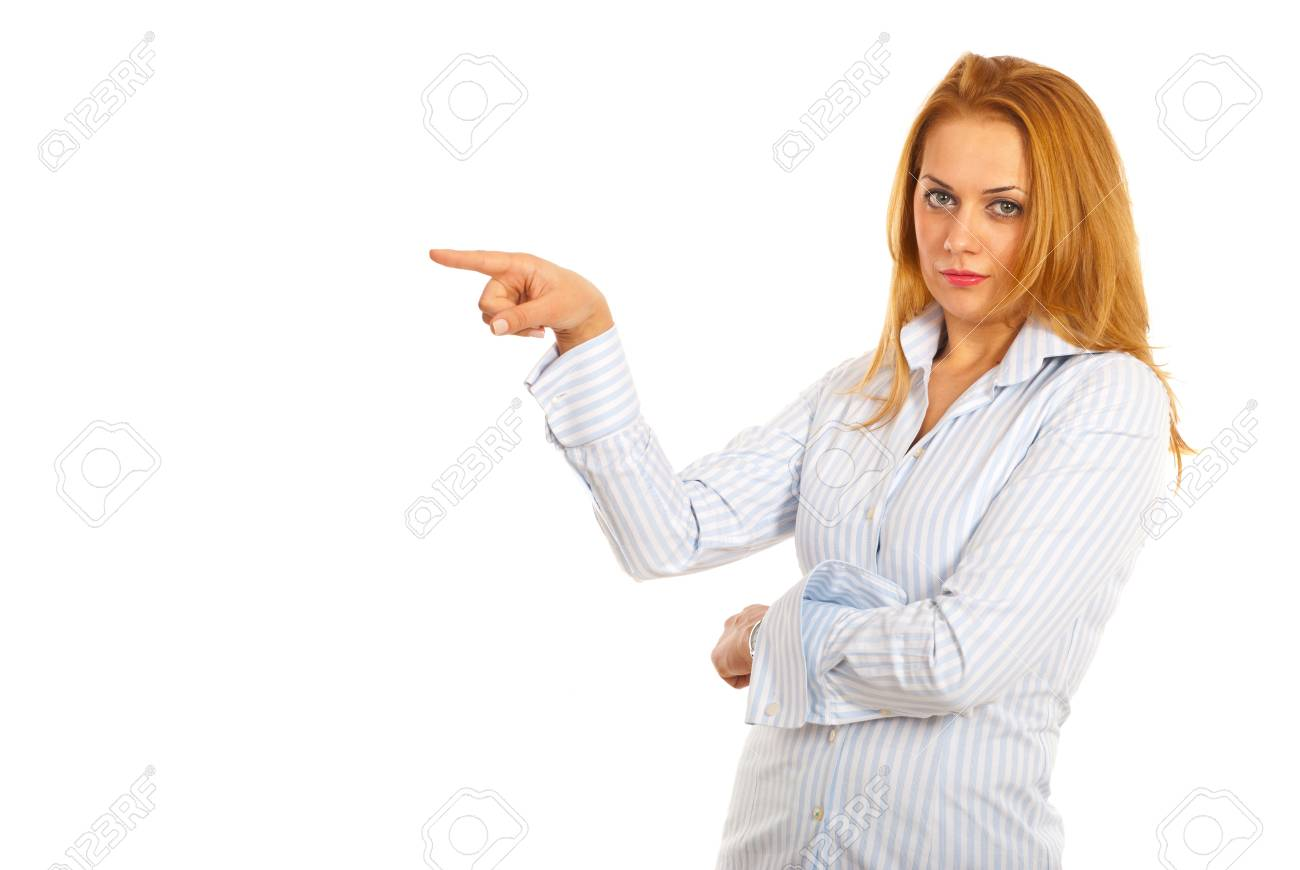 Executive woman pointing to copy space isolated on white background Stock Photo - 16236326