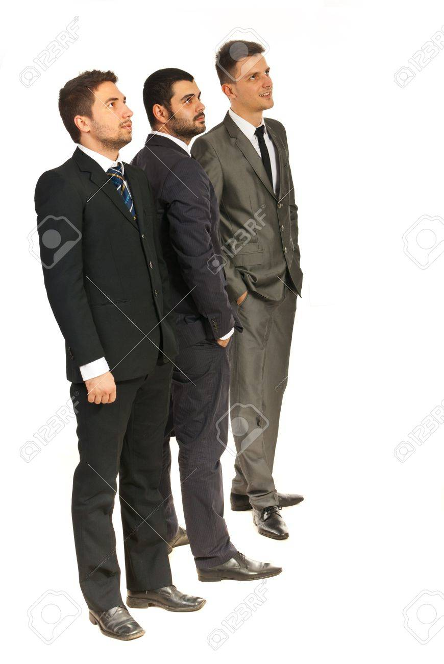 Full length of three business men looking in perspective isolated on white background Stock Photo - 16966094