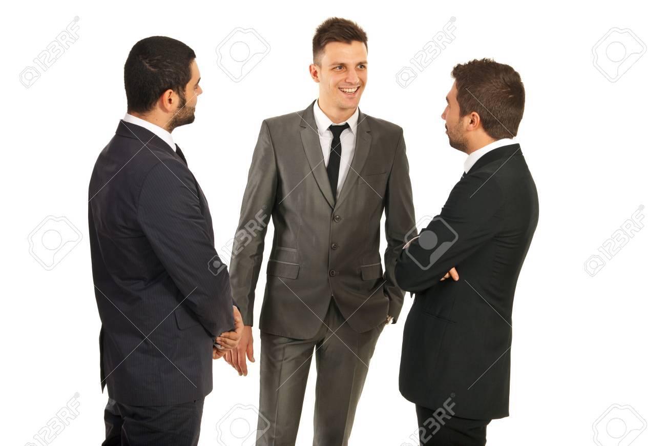Happy three business men having conversation isolated on white background Stock Photo - 16966097