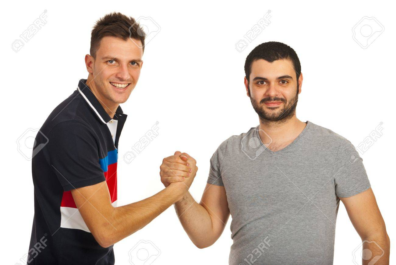 United two friends guys isolated on white background - 16962767